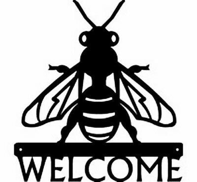 Honey Bee Farm Apiary Metal Art Welcome Sign Plaque Country Gift Decor