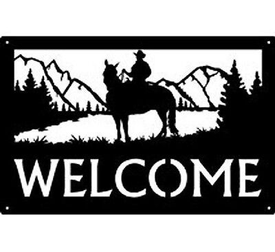 "Cowboy Western ""Mountain Rider"" Silhouette Metal Art Welcome Sign Wall Plaque"