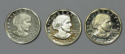 1979 1980 1981 S Susan B Anthony Deep Cameo Proof Dollar Run Type 1