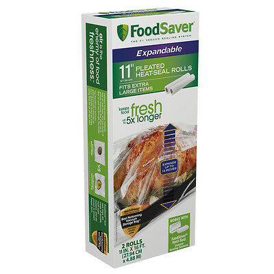 FoodSaver Expandable Heat Seal Rolls, 2-Pack, 11in x16ft FSFSBFEX626-033