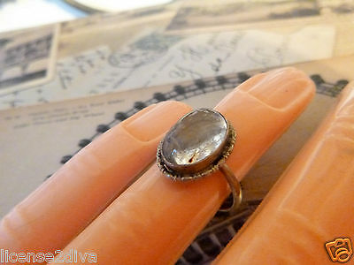 Art Deco Sterling Silver Butterfly Wing Bezel Set Ring! True Vintage! 3.75!