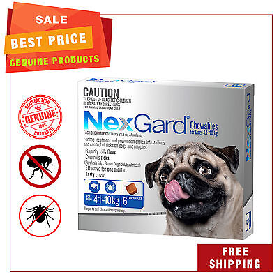 NEXGARD NEXGUARD for Dogs 4.1-10 Kg BLUE Pack 6 Chews Flea and Tick Treatment