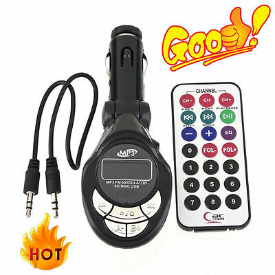 4in1 Car MP3 Player Wireless FM Transmitter Modulator USB SD CD MMC Remote SN