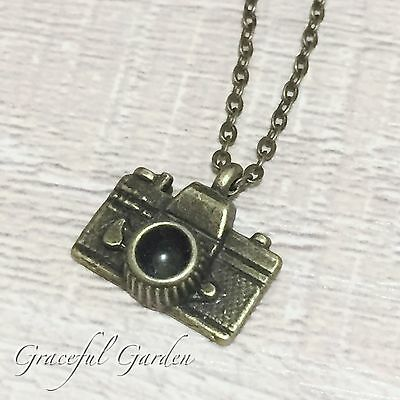NL0399 Graceful Garden Vintage Style Mini Camera Charm Pendant Necklace 50cm