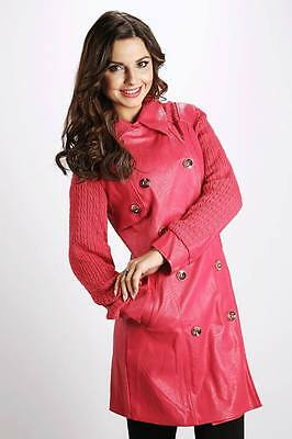 Trendy Knitted Sleeve Faux Leather Trench Hot Pink Coat Size S - L UK 8 -12 /857