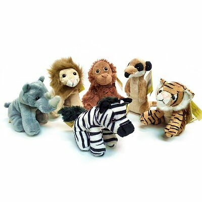 Pack of 6 Jungle Animal 13cm Soft Cuddly Toys