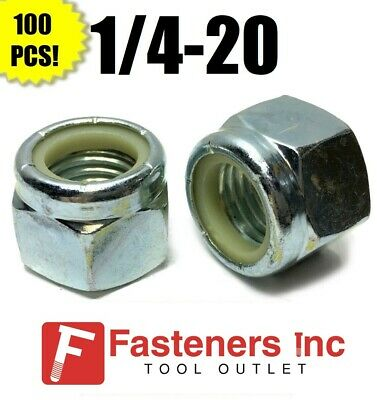 (QtY 100) 1/4-20 Nylon Insert Lock Nuts Nylock Zinc Plated (100 Pieces Total)