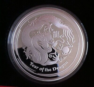 Perth Mint Lunar 2012 2 Oz Silver PROOF $2 Dragon Series 2 COA Original Owner