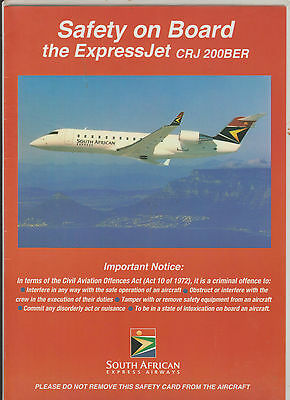 Safetycard SOUTH AFRICAN EXPRESS AIRWAYS CRJ200BER