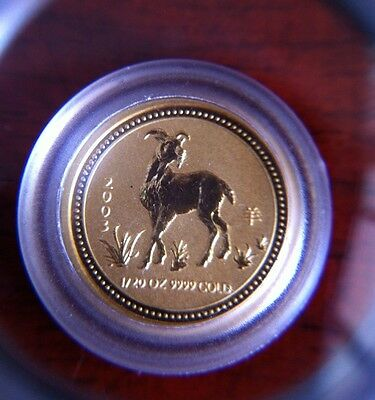 "Australia Perth Mint Lunar 2003 $5 ""Year Of The Goat"" 1/20 oz .9999 Gold Series1"
