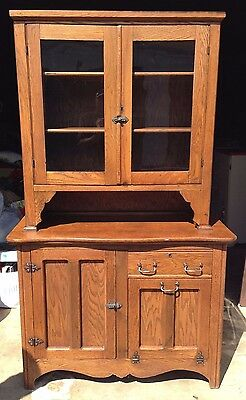 Hoosier Two 2 Piece Cabinet and Hutch Wood Kitchen Dining Room