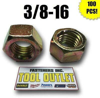 (Qty 100) 3/8-16 Grade 8 Finish Hex Nuts Yellow Zinc Plated Hardened