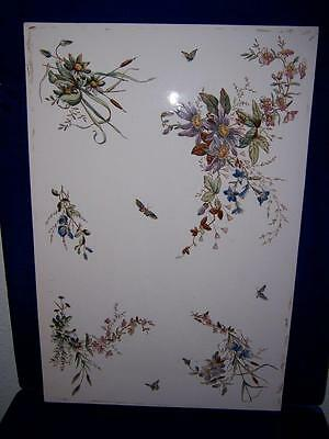 BEAUTIFUL 19c MEISSEN GERMAN PORCELAIN PLAQUE BUTTERFLIES FLORAL DESIGN 16 X 24