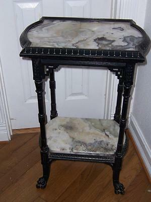 1880 American Ebonized 2 Tier Pedestal Table Marble Claw Feet