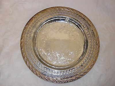 "Internationa Silver Co. - Vintage 10"" Silver Round Serving Tray"