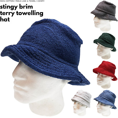 Stingy Brim Terry Towelling Bucket Hat Daggy Fishing Camping Cap New 100% COTTON