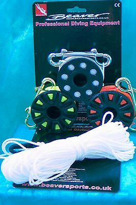 SCUBA diving reel by Beaver choose your size + double ended stainlesssnap bolt