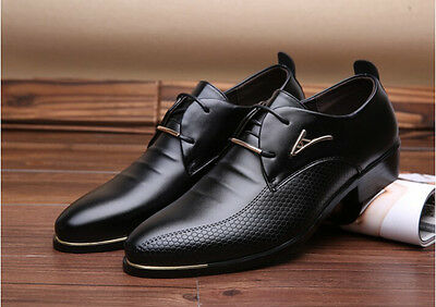 Men's Wedding Shoes Pointed Leather Lace Up Formal Office Work Dress British  N2