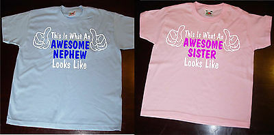 """Boys/Girls """"AWESOME ? Looks Like"""" T-Shirt Daughter,Son,Brother,Sister, Cousin"""
