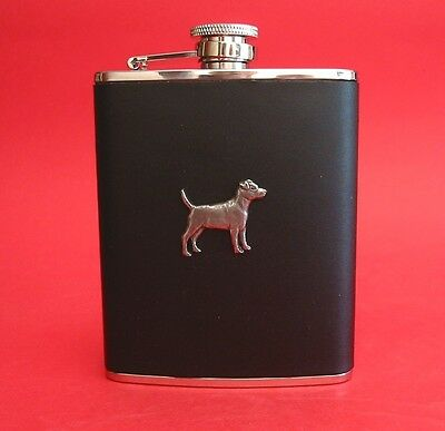 Patterdale Terrier Dog 6oz Hip Flask Leather NEW Boxed Fathers Patterdale Gift