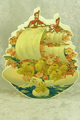 Shackman Cardboard Candy Container Chicks on Egg Ship Vintage Litho Reproduction