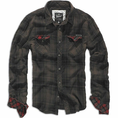 Brandit Duncan Vintage Shirt Mens Cotton Flannel Long Sleeve Check Brown Black