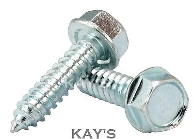 FLANGED HEXAGON HEAD SELF TAPPING SCREWS ZINC PLATED HEX TAPPERS No.6,8,10,12,14