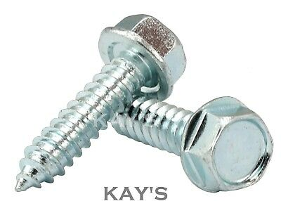 FLANGED SELF TAPPING SCREWS ZINC PLATED HEXAGON HEX HEAD TAPPERS No.6,8,10,12,14