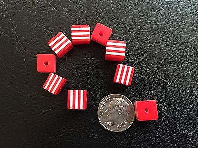 25 pcs Cute Bright Red & White Candy Striped Cube Shape Resin Beads