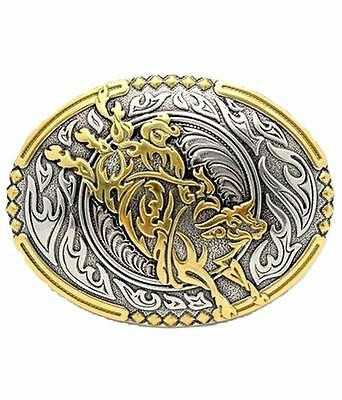 Crumrine Western Belt Buckle Oval Bull Rider Gold Silver 38010