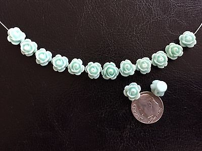 25 pcs Adorable Mint Green Carved Rose Resin Flower Beads With Holes Drilled