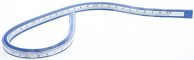 "COX 40 cm 16"" FLEXIBLE PLASTIC VINYL CURVE RULER DRAWING DRAFTING FRENCH CURVE"