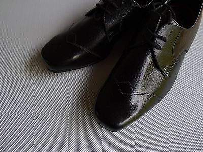 vintage retro 60s unused 2 1/2 childs boys black leather shoes NOS