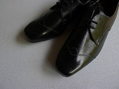 vintage retro 60s unused 4 1/2  childs boys black leather shoes NOS Ceasar