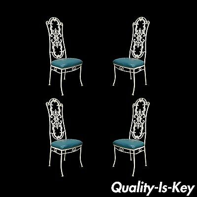 4 Vintage Wrought Iron Hollywood Regency French Style Dining Garden Patio Chairs