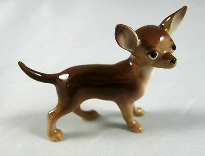 Hagen Renaker miniature made in America Chihuahua dog facing right brown