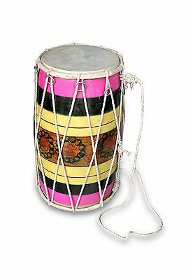 Handmade Rope Tuned Indian Mango Wood Musical Baby Dholak Dholaki Decorative 030