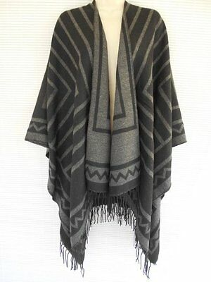 Color Block Waffle And Rib Knit Shawl w//Turtleneck Gray Black Poncho Outwear#Tuc