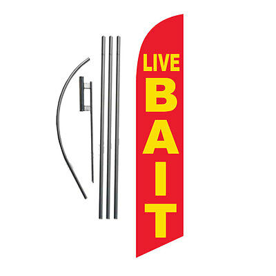 LIVE BAIT 15' Feather Banner Swooper Flag Kit with pole+spike fishing