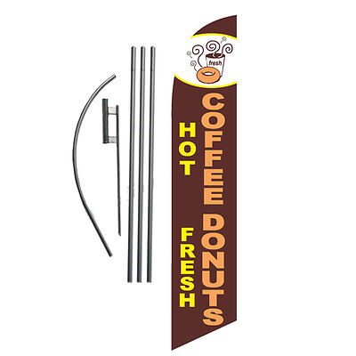 Hot Coffee Fresh Donuts 15' Feather Banner Swooper Flag Kit with pole+spike