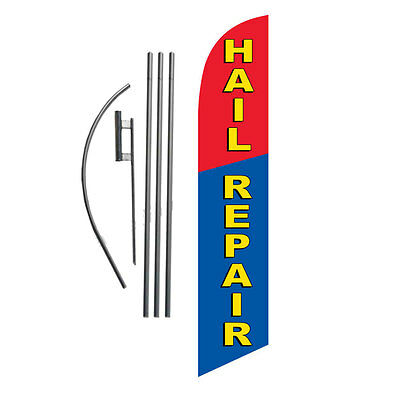 HAIL REPAIR blue/red) 15' Feather Banner Swooper Flag Kit with pole+spike
