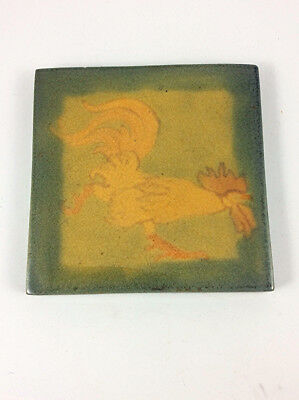 ANTIQUE Arts Crafts MARBLEHEAD POTTERY TILE OF A ROOSTER