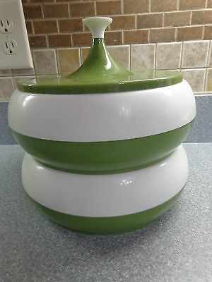 Vintage 1960's Stackable Kitchen Canisters Green Plastics Consolidated Inc., N.y
