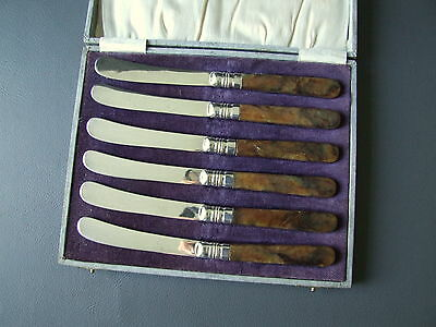 Vintage set of 6 silver plated brown handled tea butter side plate knives & box