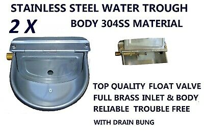 Two Stainless Steel Water Trough Bowl Brass Inlet Valve 4  Horse Cattle Dog Goat