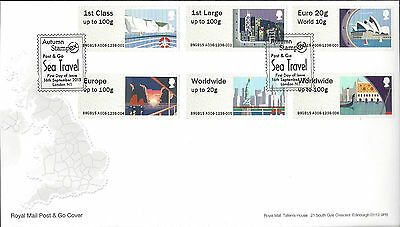 Gb 2015 Fdc Post & Go Sea Travel Heraldic Lion Stampex Bpma First Day Covers