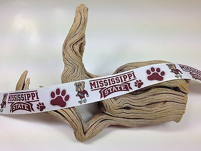 "BTY 1/"" Printed Mississippi State Grosgrain Ribbon Hair Bow Scrapbooking Lisa"