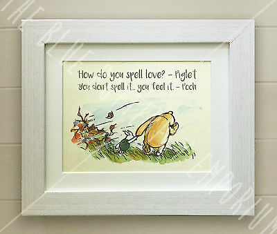 Winnie the Pooh FRAMED QUOTE PRINT, Baby, Nursery Picture Gift Bear, Piglet love