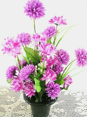 Quality Artificial /Silk Flower Arrangement In a Grave/Memorial/Crem Pot / Vase
