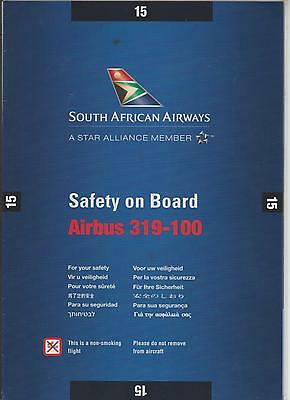 Safetycard SOUTH AFRICAN AIRWAYS Airbus 319-100, Issue 15